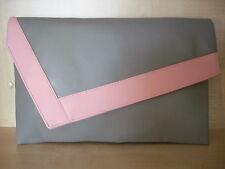 OVER SIZED SILVER GREY & PINK faux leather clutch bag.  Handmade in the UK.