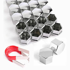 20 Pcs 17mm CHROME WHEEL LUG  NUT BOLT COVER CAPS Removal Tool For VW SKODA AUDI