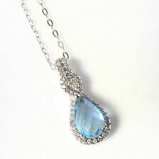 """Sterling Silver Pendant Made With Pear Shape Blue Topaz Swarovski Elements 18"""""""