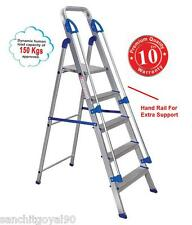 Brancley 5 step ( 4 steps +1 platform) aluminium kitchen ladder with HAND RAIL