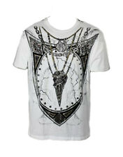 KONQUEST PLATINUM Men's Shield & Raven Skull Necklace Print T-Shirt (KQTS046)