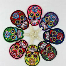 """2.7/8""""x10pc. mix randon mexican sugar skull rose embroidered iron on sew patches"""