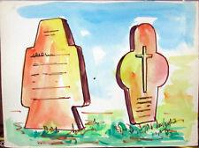Acquerello '900 su carta Watercolor Architettura futurista cubista razionale-92