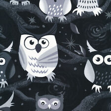 Fat Quarter Nite Owls Black and White Cotton Quilting Fabric