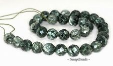 """10MM RUSSIAN SERAPHINITE GEMSTONE AA GREEN FACETED ROUND 10MM LOOSE BEADS 7.5"""""""
