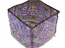 Purple Gold Embroidered Pouf Footstool Cover - Trendy Ethnic Indian Ottoman 18""