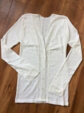 Gabriella Knight lace trimmed fine knit Thermal Cardigan Size-1 UK-8-10  Brora