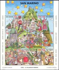 San Marino 1993 European Village/Buildings/Bus/Boats/Windmill 12v sht (n43399)