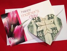 MOTHERS DAY GIFTS TWO DOLLARS ((HEART)) $2 BILL FOLDED RARE DOLLAR ORIGAMI