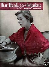Bear Brand #342 c.1951 Vintage Patterns for Bed Jackets in Knitting and Crochet