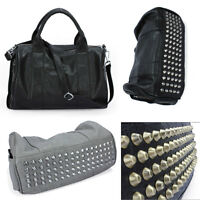 New Women Leather Bottom Rivets Studs Shoulder Bag Purse Handbag bags Tote Gift
