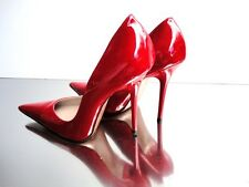 CQ COUTURE ITALY HEELS POINTY PUMPS SCHUHE DECOLTE PATENT LEATHER RED ROSSO 35