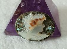 Antique Sterling and Abalone MOP Shell Cameo Pin Brooch