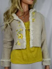 ANTHROPOLOGIE SLEEPING ON SNOW Curly Clara Oatmeal Fuzzy Hooded Sweater XS