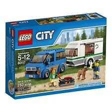 NEW LEGO City Van & Caravan with Includes a Male & Female Camper + Dog 60117