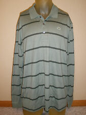 * $195 Mens 3XL 3X Lacoste Green Black Stripe Pullover Polo Shirt 100% Cotton