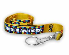 Autism Awareness Puzzle Piece Ribbon Lanyard