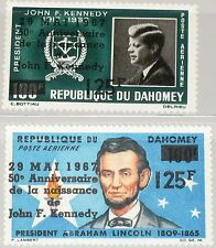 DAHOMEY 1967 313-14 C55-56 50th Ann Birth of President Kennedy Lincoln ovp MNH