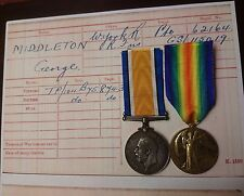 WW1 BRITISH WAR MEDAL & VICTORY MEDAL/BADGES WEST YORKS REGT AND R FUSILIERS