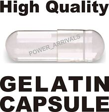 1000 EMPTY GELATIN CAPSULES SIZE 0 (Kosher) GEL CAPS PILL COLOR - CLEAR