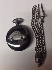 Fiat 500 ref64 Pewter Effect Car on a polished Black Case Pocket Watch