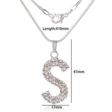 Fashion Girls Pendant Necklace Letter S White Gold Plated With Pendant