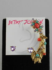 Betsey Johnson Gold BETSEY'S DELICATES Stud Coral Beaded Crawler Cuff Earrings