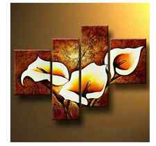 Modern Oil Painting Stretched Wall Art Floral Picture Canvas Decor Framed Flower