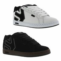 Etnies Fader Mens Black White Leather Skate Shoes Trainers