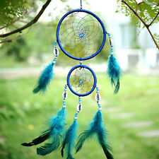 Car Handmade Blue Dream Catcher Circular With feather Wall Hanging Decoration