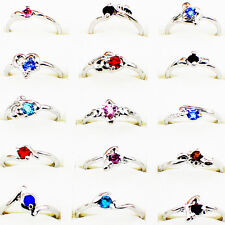Wholesale Lot 40pcs White Gold Plated Variety Crystal  Costume Cocktail Rings