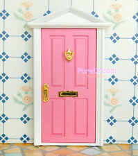 1:12 Scale Dollhouse Miniature Pink Interior Wood Door Metal Hardware Assembled