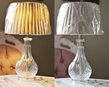 Large Cut Glass Decanter bottle Style & Shade Pleated French Style Table Lamp