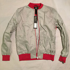 NEW DIESEL 55DSL JAPONI PALE GRAY PINK NYLON WINDBREAKER JACKET L LARGE