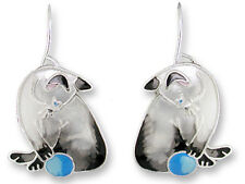 Zarah Zarlite Siamese CAT EARRINGS Silver Plated Enamel Kitten Ball - Gift Boxed