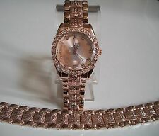 ROSE GOLD FINISH CROSS RELIGIOUS GENEVA HIP HOP BLING WATCH AND BRACELET SET