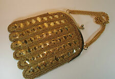 Italian Gold Plastic & Crochet Lamé Evening Bag - Vintage Handbag 1960's