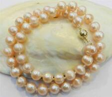9-10mm Real Natural Pink Cultivation Pearl Necklace 18 Inch