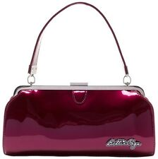 Sourpuss Bettie Page Cover Girl Kiss Lock Purse Glossy Brick Red
