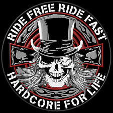 Ride Free Ride Fast Hardcore for Life Patch Aufnäher XL 22,5cm Biker Kutte MC