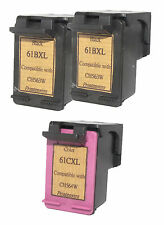 HP 61XL 2 Black CH563W 1 Color CH564W 33% More Reman Ink Cartridges Deskjet 1000
