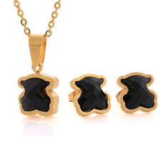 Necklace+Earrings Cute Bear Set Stainless Steel Black/White Crystal Fashion Gift