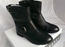 HALF PRICE_Ladies Double Buckle_Black Leather_BikerStyle_Ankle Boots_RAVEL_5 UK