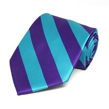 Dark Purple and Turquoise Diagonally Striped Tie: Great Color Combination