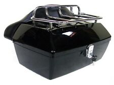 Black Motorcycle Trunk Tail Box Luggage W/ Top Rack Backrest For Suzuki Cruiser