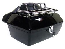 Black Motorcycle Trunk Tail Box Luggage W / Top Rack Backrest For Yamaha Cruiser