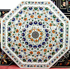 36'' White Marble Top Dinning Table Multi Marquetry Inlay Art Outdoor Deco H3152