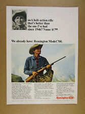 1965 Remington model 700 bolt-action Rifle hunter photo vintage print Ad
