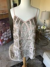 Anthropologie NWT Needle & Thread pink tunic with gold sequins Size 8