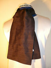 100% raw silk men's cravat/scarf  Textured black fabric NEW